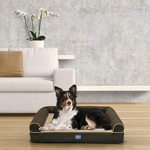 Sealy Ultra Plush Sofa-Style Bolster Orthopedic Dog Bed Brown Medium (27' x 36')