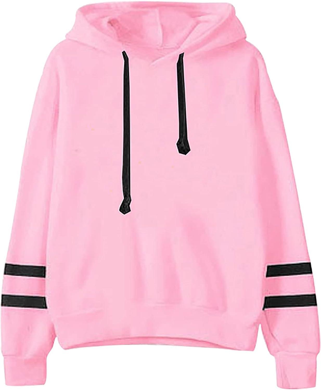 RFNIU Women'S Fashion Hoodies & Sweatshirts Fall Casual Black Round Neck Pullover Tops Slim Double Horizontal Blouses