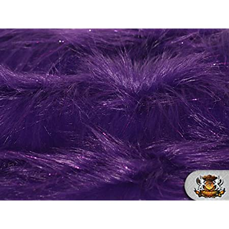 PURPLE Faux Fake Fur Solid Shiny Tinsel Long Pile Fabric Sold By The Yard 60 Width