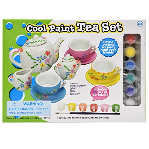 Number 1 in Gadgets Paint Your Own Tea Set for Kids, Decorate Your Own 11 Piece Craft Set of Porcelain Dishes, Includes Six Paint Pots and Paint Brush