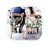 Wedding Chair Signs Hoop Style Better Together Wedding Chairs, Floral Hoop Calligraphy Wooden Hanging Signs Set Circle,Wood