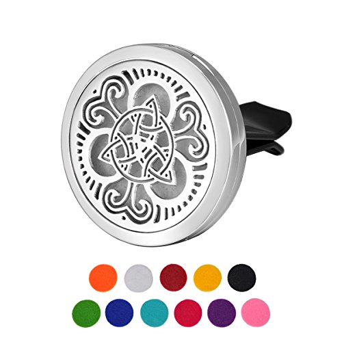 HOUSWEETY Car Air Freshener Aromatherapy Essential Oil Diffuser - Celtic Knot Stainless Steel Locket,11 Refill Pads (Celtic Knot)