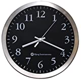 Bjerg Instruments Modern 12' Stainless Silent Wall Clock with Non Ticking Quiet and Accurate Movement