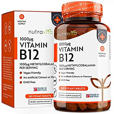 Vitamin B12 1000mcg - 365 Tablets (1 Year Supply) of Vegan Methylcobalamin - Contributes to The Reduction of Tiredness and Fatigue - Made in The UK by Nutravita