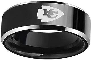 FlyStarJewelry Kansas City Chiefs Football Black Titanium Steel Men Sport Ring Band Size 6-13