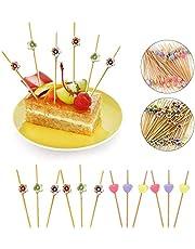 Ldawy Palitos de cóctel, 200 Cuentas Palillos de cóctel de 4.7 Palitos de bambú Natural Hechos a Mano para cócteles Aperitivos Frutas Postres Artículos de Fiesta (Flor y corazón)