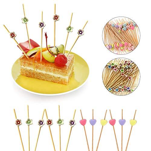 Ldawy Cocktail Sticks Cocktailspieße Fingerfood-Spieße Holzspieße 200 Stück Zahnstocher natürliche Bambus Sticks für Cocktails Vorspeisen Früchte Desserts Partyzubehör, 4.7'' (Blume & Herz)