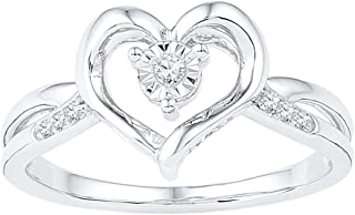 FB Jewels Sterling Silver Womens Round Diamond Heart Ring 1/20 Cttw Size 8.5