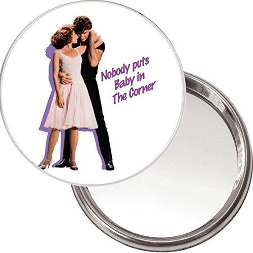 """'""""Nadie pone a Baby en la esquina"""" único botón espejo con una imagen Patrick Swayze y bailando con Jennifer gris de la película Dirty Dancing."""