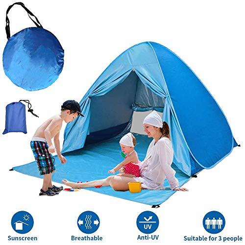 Tienda Carpa Refugio de Playa. 100% Proteccion Anti Rayos UV. Pop up automontable y Plegable. Paravientos. Tela Muy Ligera. para Proteger del Sol y Viento Niños y Bebés
