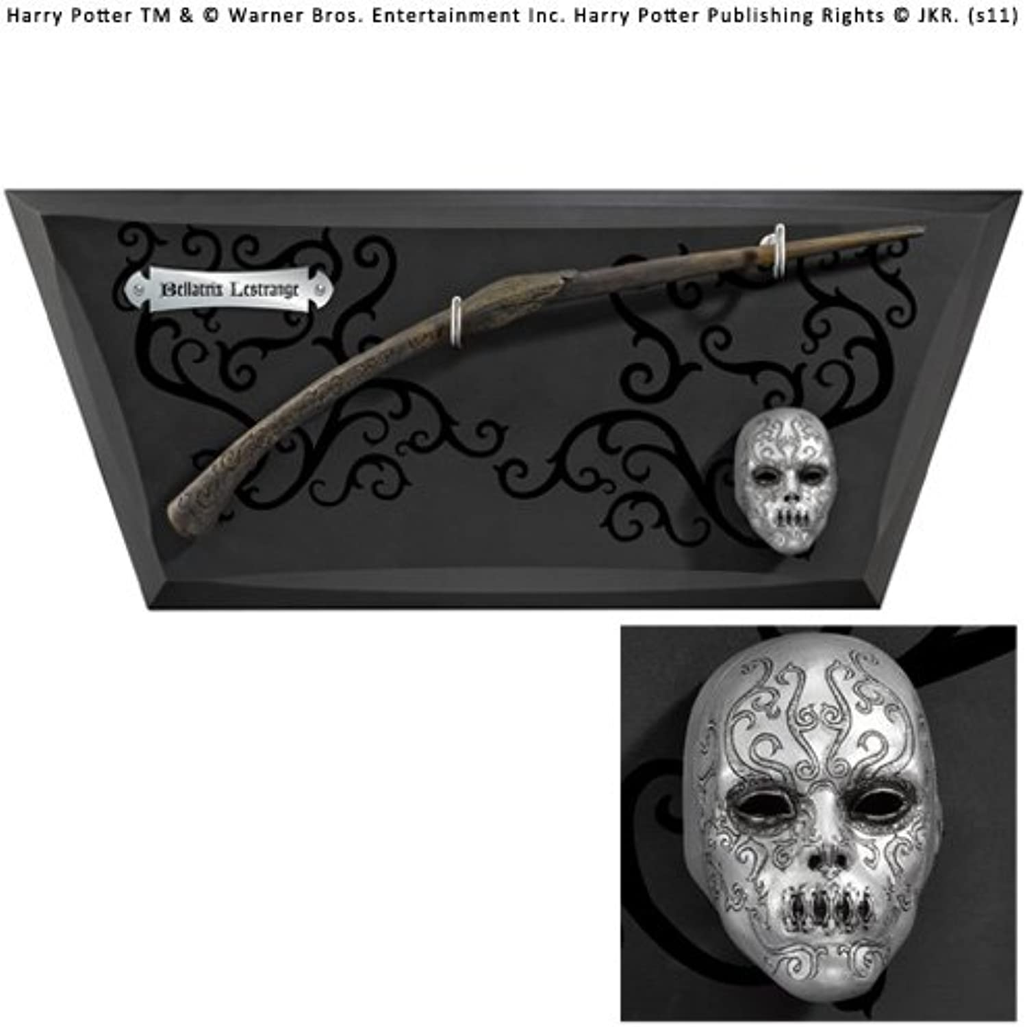 The Noble Collection Bellatrix Wand with wall display & mini mask