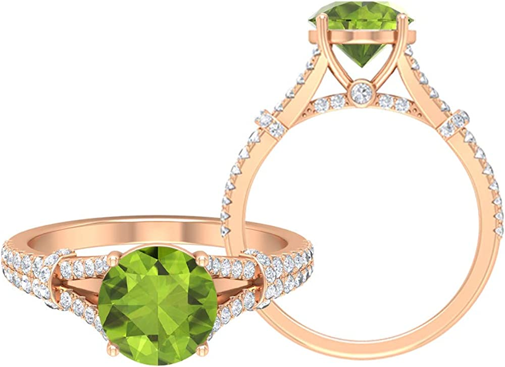 2 CT Rare Opening large release sale Peridot Solitaire Ring Enga Vintage with Accent Moissanite