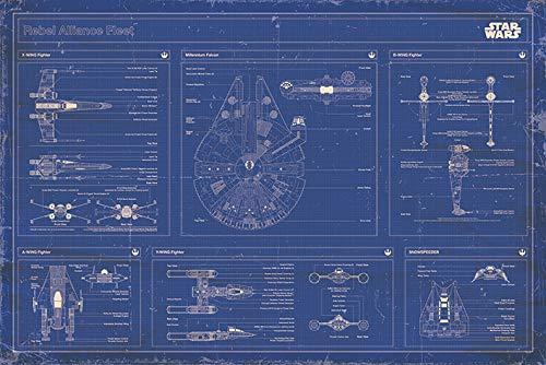 PopArtUK - Maxi Poster di Mappa di Guerre Stellari, 61 x 91,5 cm, Colore Blu Standard Standard