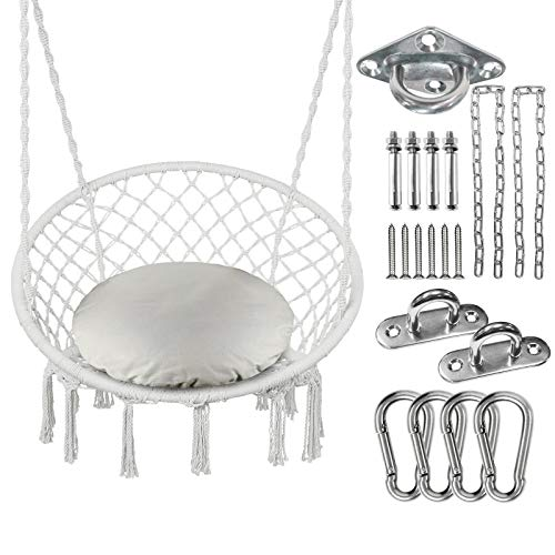 Greenstell Hammock Chair Macrame Swing with Cushion and Hanging Hardware Kits, Max 290 Lbs Hanging...