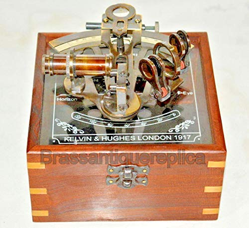 messing werken duits nautisch sextant met houten doos