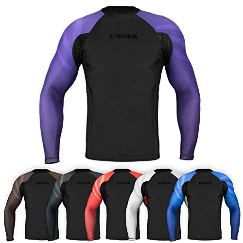 Sanabul Essentials Long Sleeve Compression Training Rash Guard for MMA BJJ Wrestling (Small, Purple)