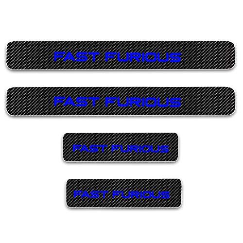 4D Carbon Einstiegsleisten Deko Folie, Lackschutzfolie Selbstklebend, Lackschutz Aufkleber passgenau für Auto Ladekante/Türeinstiege mit dem Wort Fast Furious Blau 4 Stück