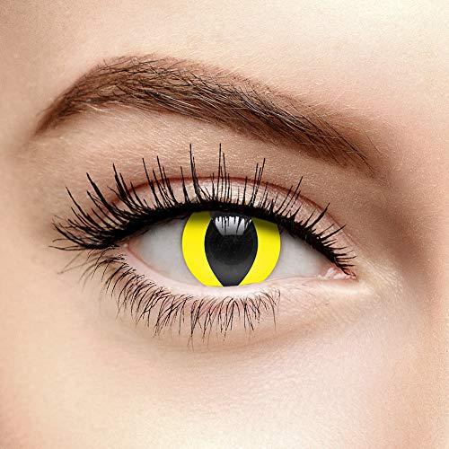 i-Glow Farbige Kontaktlinsen Ohne Stärke UV Katzenauge Gelb (90 Tage)