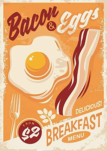 nobrand Bacon & Eggs Vintage Metal Sign, Retro Wall Plaque, Breakfast, American Diner 8x12 in
