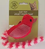 Plush Kitten Cat Toys Birds with Reflective Wings & Long Tails, 1 Toy/Pk Select: Color (Red Bird)