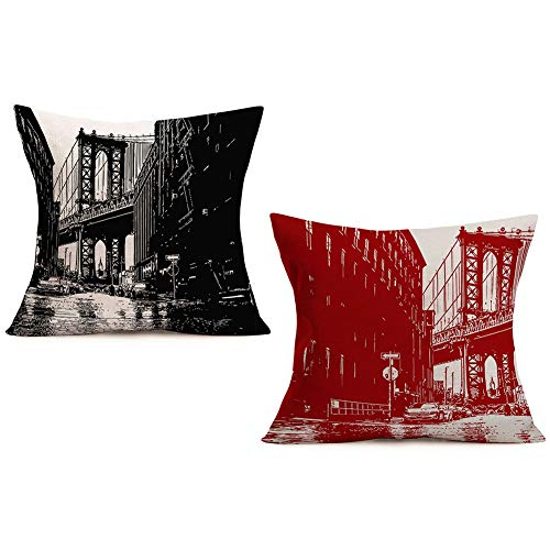 Doitely Set of 2 Modern Throw Pillow Covers Cotton Linen Cushion Cover Brooklyn Bridge with Manhattan American New York City Famous Town Image Decorative Square Accent Pillow Cases, 18' X 18'