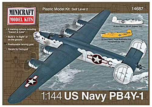 Minicraft Models Dempsey Designs Morceau modèles Echelle 1 : 144 modèle marquage pb4y-1 US Navy avec 2 Options Kit