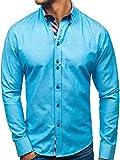 BOLF Hombre Camisa De Manga Larga 2759 Azul Turquesa L [2B2]