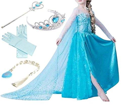 YOGLY Mädchen Prinzessin Elsa Kleid Kostüm Eisprinzessin Set aus Diadem, Handschuhe, Zauberstab, 110, rosa