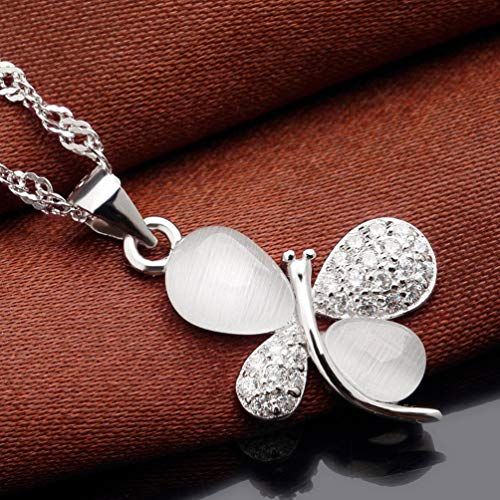 TAOHOU Moonstone Opal Angel Colgante Lady Clavicle Chain Classic Charm Jewelry Blanco