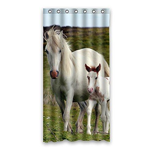 Einmal Young Beautiful Pony Custom Weiß Wasserdicht Polyester- & Schimmelfest-Duschvorhang Badezimmer Deko 91,4x 182,9cm (90x 183cm), Polyester, G, 36