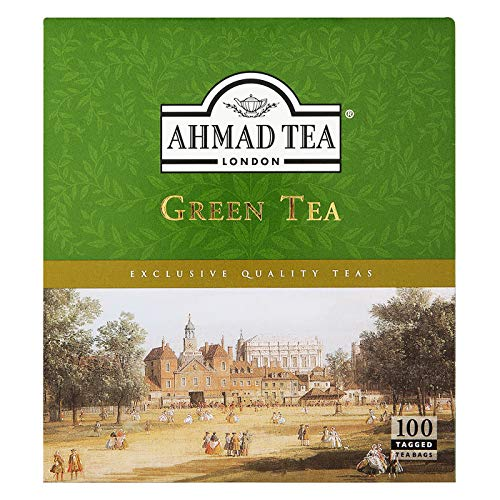 Ahmad Tea Green Tea Tagged Teabags, 100 Count