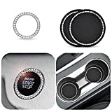 EcoNour Car Cup Holder Coaster (2 Pack) | Car Push Start Button Ring (1 Pack) | Rhinestone Car Accessories for Women | Decorative Ring for Bling Ignition Button Suits for Most Cars, Trucks and RVs