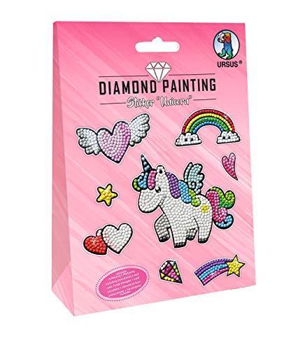 Ursus Diamond Painting Unicorn, para diseñar brillantes, 2 hojas de pegatinas de 15 x 10 cm, con diferentes diseños, piedras de diamante, pastillas, cera y cáscara, carbón