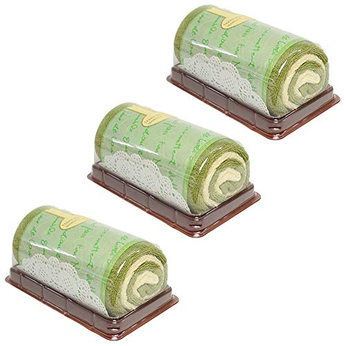 Songwol Towel Roll Cake Shape Cotton Hand Towels Cakes Wedding Favors (Green, 3)