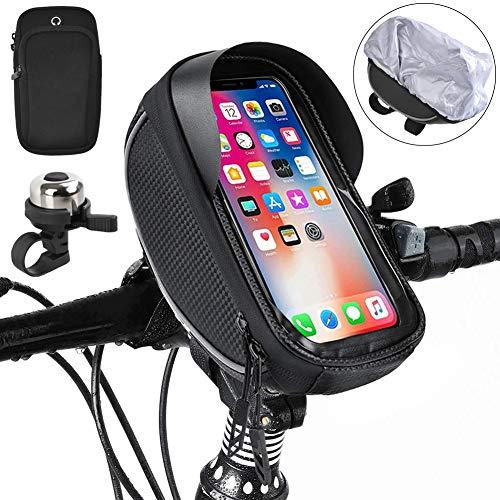 kupet Borsa Telaio Bici, Impermeabile Borsa Manubrio Bicicletta con TPU Touchscreen, Borsa da Manubrio per Biciclette Borse Biciclette, Porta Cellulare Bici per telefoni sotto 6.5 Pollici