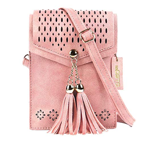 SeOSTO Frauen Mini Umhängetasche, Quaste Umhängetasche Handy Geldbörse Wallet (Rosa)