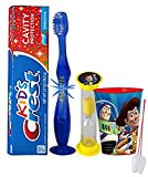 Toy Story 'Woody' Inspired 4pc Bright Smile Oral Hygiene Set! Flashing Lights Toothbrush, Toothpaste, Brushing Timer & Mouthwash Rinse Cup! Plus Bonus 'Remember to Brush' Visual Aid!