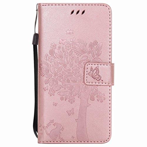 Yiizy Sony Xperia X / F5122 Funda, Árbol y Gatos Repujado Diseño Billetera Carcasa Estuches PU Cuero Cover Cáscara Protector Piel Ranura para Tarjetas Estilo (Oro Rosa)