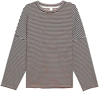 Basic Round Neck Striped Long-Sleeved Sweater Women's Autumn Loose-Fitting Casual top (Color : Coffee, Size : M)