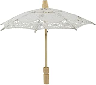 AUNMAS Bridal Umbrella White Handicraft Lace Cotton Embroidery Parasol Umbrella for Wedding Photography Supplies (2#)
