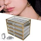 Caja de almacenamiento de exhibición de joyería de 4 cajones, caja de almacenamiento de joyería para mujer, contenedor de puntas de uñas, caja de almacenamiento de pendientes de collares, organizador