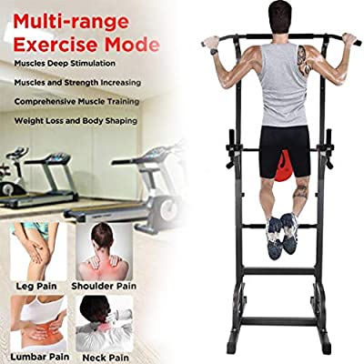 SUIKI Multi-Function Power Tower Adjustable Heights Workout Dip Station for Adults and Kids Home Gym Strength Training Fitness Equipment, Body Strength Training Supports to 330lbs