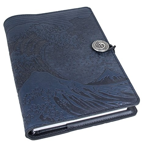 Genuine Leather Refillable Journal Cover with a Hardbound Blank Insert, 6x9 Inches, Hokusai Wave, Navy with a Pewter Button, Made in the USA by Oberon Design