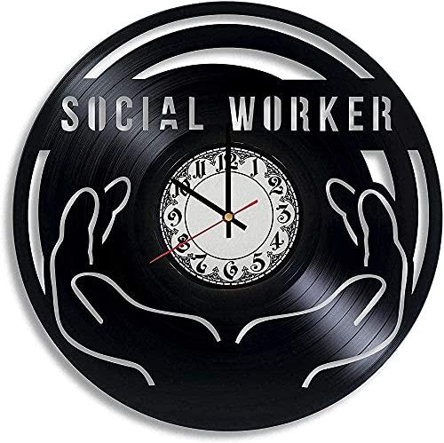 Diseño de Arte de fantasía Trabajador Social Regalo de Hombre Reloj de Pared de Vinilo Trabajador Social Gracias Trabajador Social Decoración de Oficina Trabajador Social Regalo de graduación