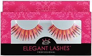 Elegant Lashes C023 Premium Color False Eyelashes (Coral Red-Orange Color Eyelashes with Gold & Navy Metallic Mix) Halloween Dance Rave Costume