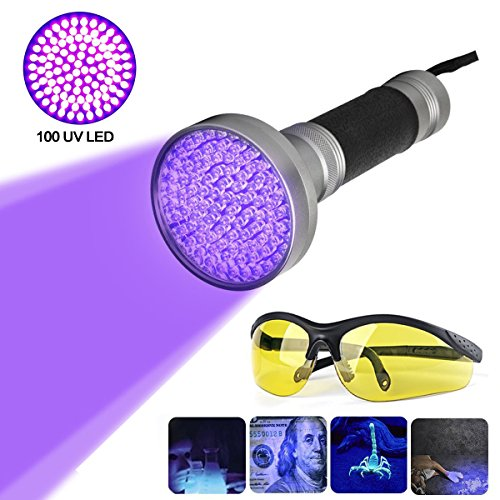 100LED 395nm Ultravioleta Linterna UV...