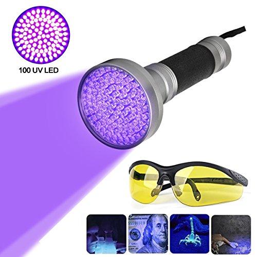100LED 395nm Ultravioleta Linterna UV...