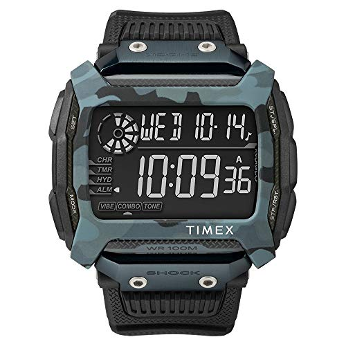 Timex Command Shock Digital CAT 54mm - Reloj de camuflaje negro con correa de resina