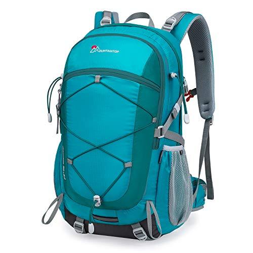 MOUNTAINTOP Mochilas Senderismo 40 litros, Portátil Mochila Trekking Impermeable, Mochilas de Montaña Hombre Mujer para Viajes Acampadas al Aire Libre (Lago Verde)