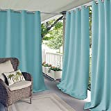 Elrene Home Fashions Connor Indoor/Outdoor Solid UV Protectant Grommet Window Curtain Panel for Patio, Pergola, Porch, Deck, Lanai, and Cabana, 52' x 108' (1, Turquoise